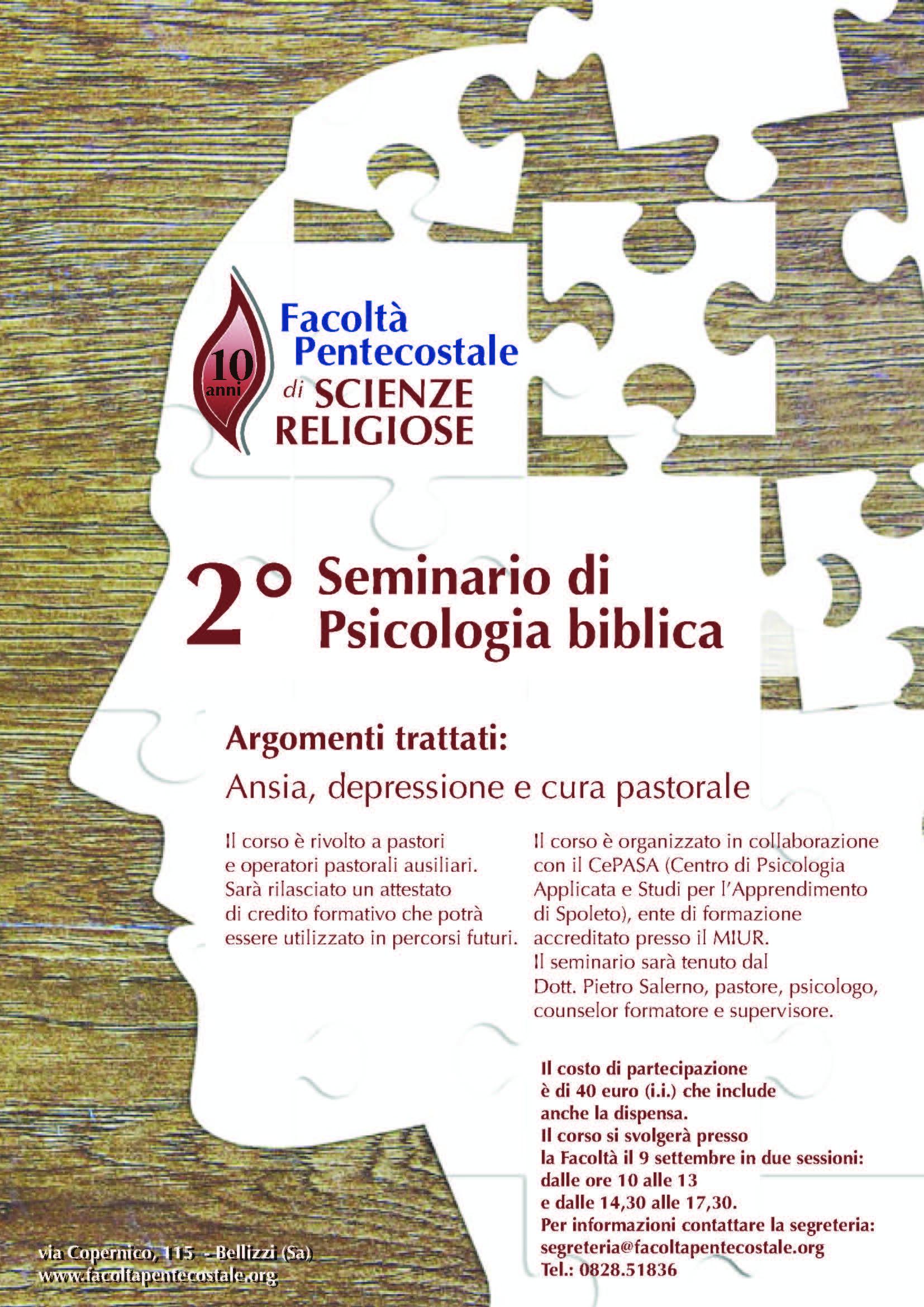 Locandina seminario psicologia biblica